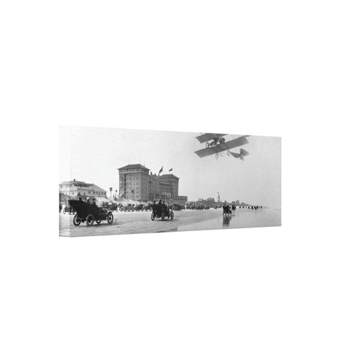 Antique Biplane over Daytona Beach, Florida, 1911 Stretched Canvas Print