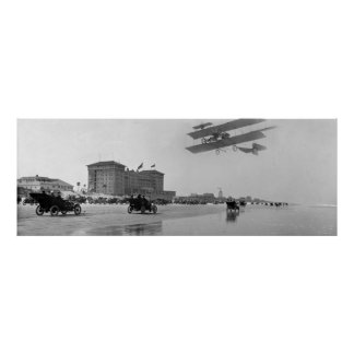 Antique Biplane over Daytona Beach, Florida, 1911 Poster