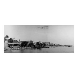 Antique Biplane over Daytona, Florida, 1911 Poster