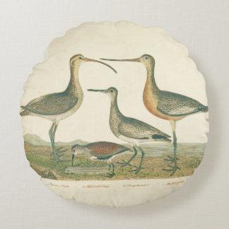 Antique Bird Print Marsh Coastal Round Pillow