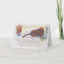 Antique Birthday Card with Violin and Music