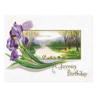 Antique Birthday Post Card-Purple Iris Flower Postcard