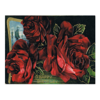 Antique Birthday Post Card-Red Roses & Sailboat Postcard