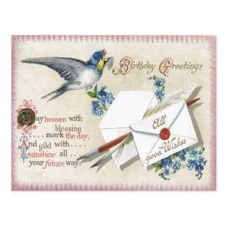 Antique Birthday Post Card-Victorian Blue Flowers Postcard