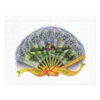 Antique Birthday Post Card-Victorian Fan, Windmill Postcard