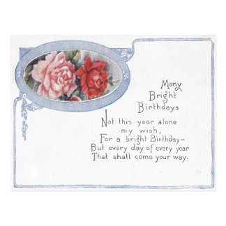 Antique Birthday Post Card-Watercolor Roses Postcard