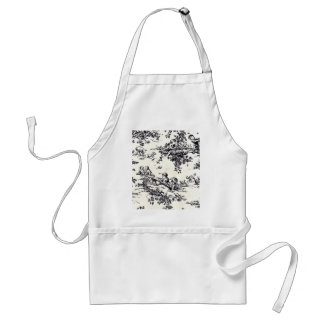 Antique Black and White Baby Toile Adult Apron