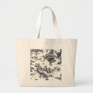 Antique Black and White Baby Toile Large Tote Bag