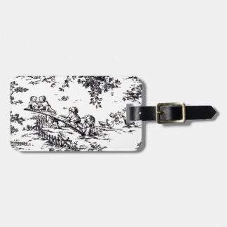 Antique Black and White Baby Toile Luggage Tag