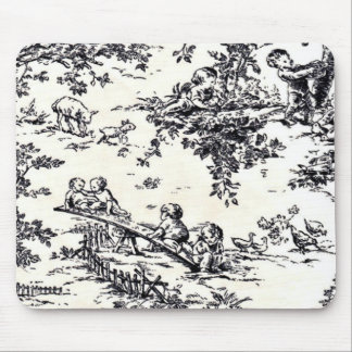 Antique Black and White Baby Toile Mouse Pad