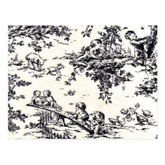 Antique Black and White Baby Toile Postcard