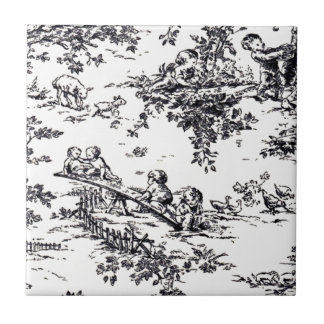 Antique Black and White Baby Toile Tile