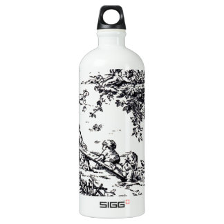 Antique Black and White Baby Toile Water Bottle