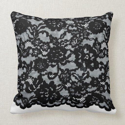 Decorative Pillows With Lace : Antique Black Lace Collection: Decorative Pillow Zazzle