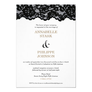 Antique Black Lace Wedding Collection: Invitation