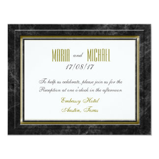 Antique Black Marble Wedding Stationery Card