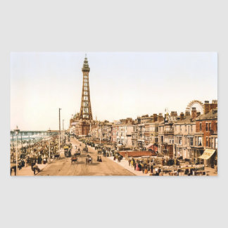 Antique Blackpool British Seaside Rectangular Sticker