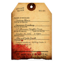 ANTIQUE BLOODY TOE TAG HALLOWEEN INVITATION