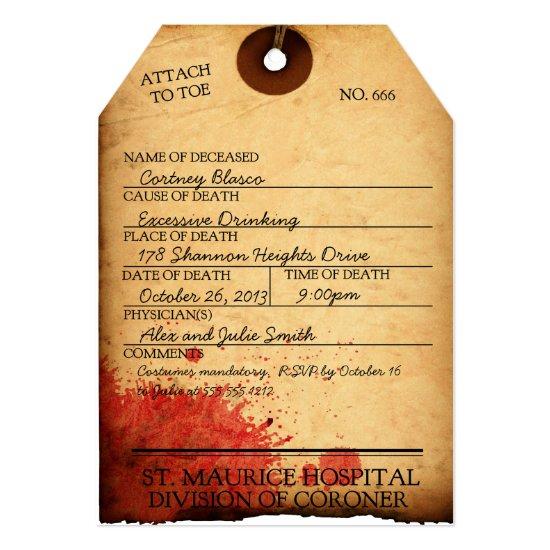 ANTIQUE BLOODY TOE TAG HALLOWEEN INVITATION