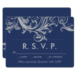 Antique Blue and Gray Floral Wedding RSVP Card