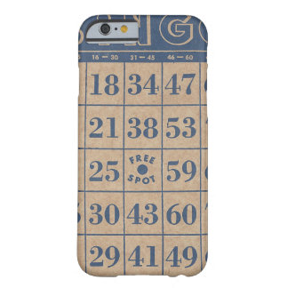 Antique Blue and Tan Bingo Card Barely There iPhone 6 Case