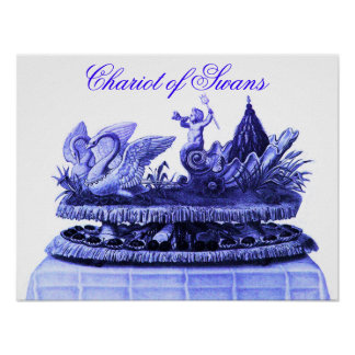 ANTIQUE BLUE CHARIOT OF SWANS AND CUPCAKES POSTER