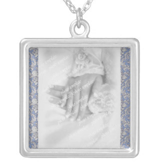 Antique Blue Damask Wedding Silver Plated Necklace