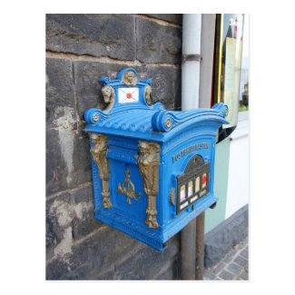 Antique blue German Mailbox from 1896 Postcard