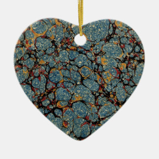 Antique Blue paper Marbling Marbled Heart Ornament