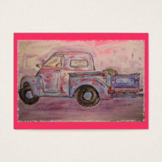 antique blue patina truck business card