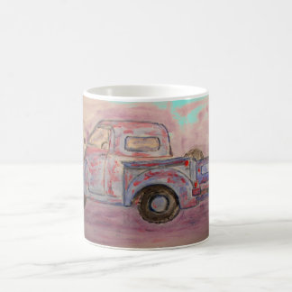 antique blue patina truck coffee mug
