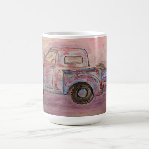 antique blue patina truck coffee mugs