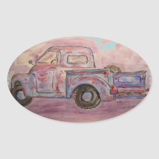 antique blue patina truck oval sticker