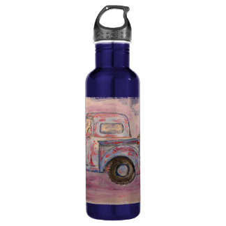 antique blue patina truck water bottle