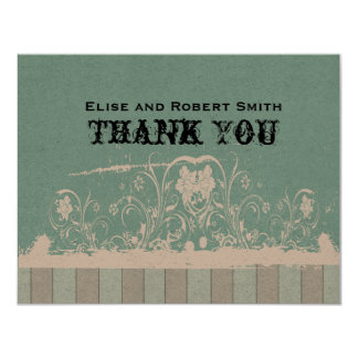 """Antique Blue Personalized Thank You Notes 4.25"""" X 5.5"""" Invitation Card"""