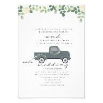 Antique Blue Truck With Tin Cans Wedding Invitation