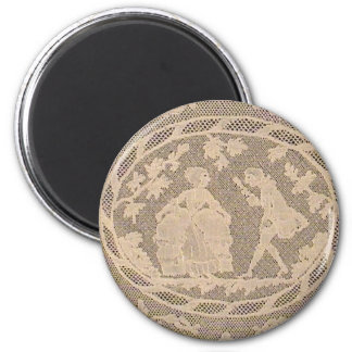 Antique Bobbin Lace withe Courting Couple 2 Inch Round Magnet