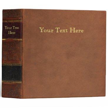 Antique Book, faux leather bound (brown retro) Binder