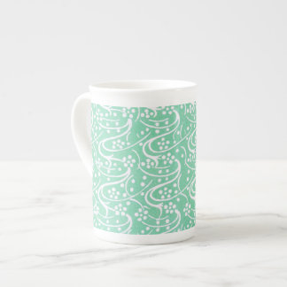 Antique Book Interior Pattern in Sea Green Tea Cup