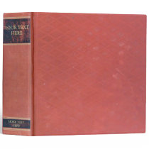 Antique Book: Old red worn & vintage cover. Retro 3 Ring Binder