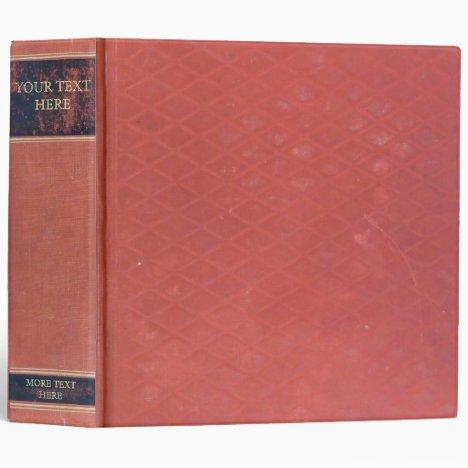Antique Book: Old red worn & vintage cover. Retro 3 Ring Binder