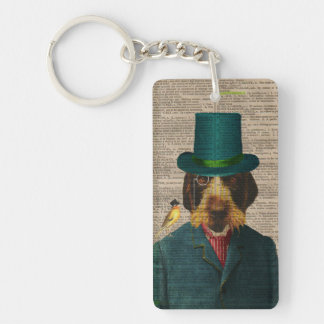 Antique Book Page Vintage Wirehaired Griffon Dog K Keychain