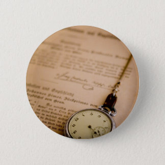 Antique Book Paper Pocket Watch Fob Button