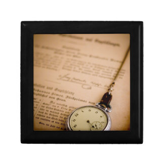 Antique Book Paper Pocket Watch Fob Gift Box