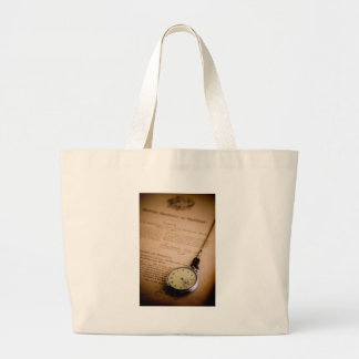 Antique Book Paper Pocket Watch Fob Large Tote Bag