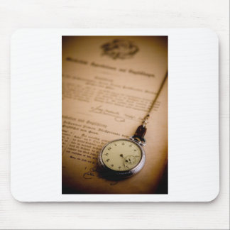 Antique Book Paper Pocket Watch Fob Mouse Pad