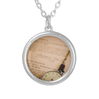 Antique Book Paper Pocket Watch Fob Round Pendant Necklace