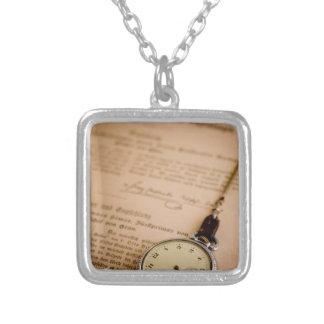 Antique Book Paper Pocket Watch Fob Square Pendant Necklace