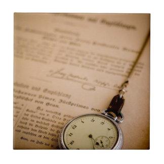 Antique Book Paper Pocket Watch Fob Tile