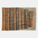 Antique Books Illustration Over Dictionary Page Kitchen Towel